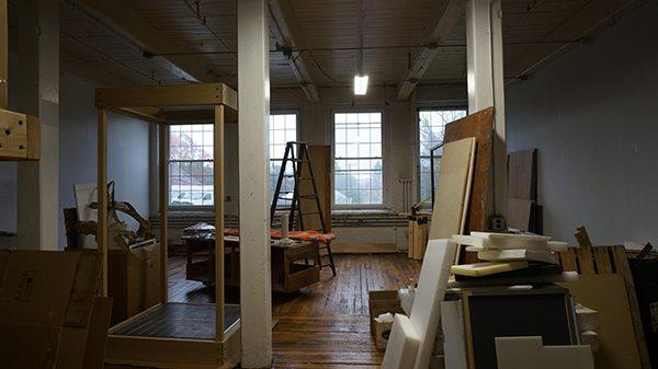 An artist's studio being emptied