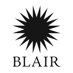 Blair publishing logo, a black sun with the name underneath