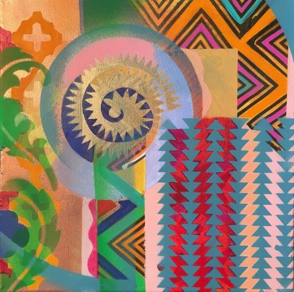 An abstract painting with colorful shapes and a gold spiral in the center