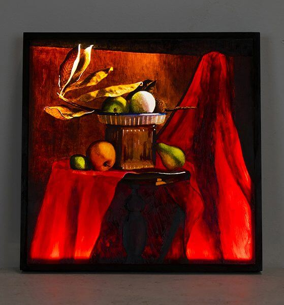 Still life painting of fruit on a table with a red tablecloth