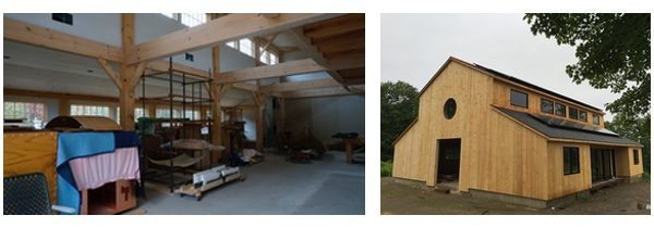 The interior and exterior of a barn during the process of renovation