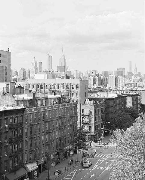 Black and white photograph of the New York City skyline