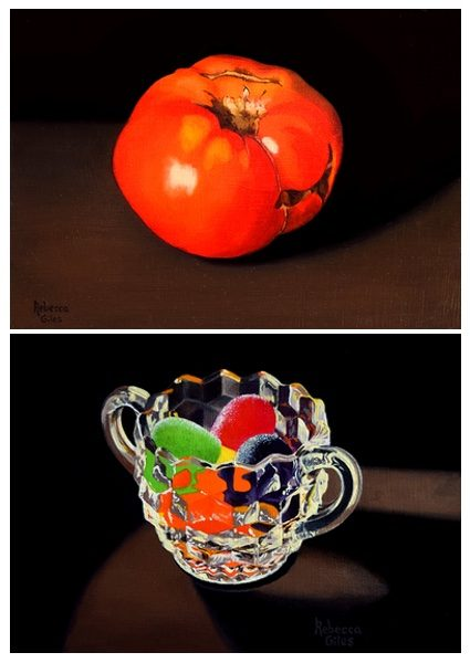 Still life paintings of a glowing tomato, and a sugar bowl holding gumdrops