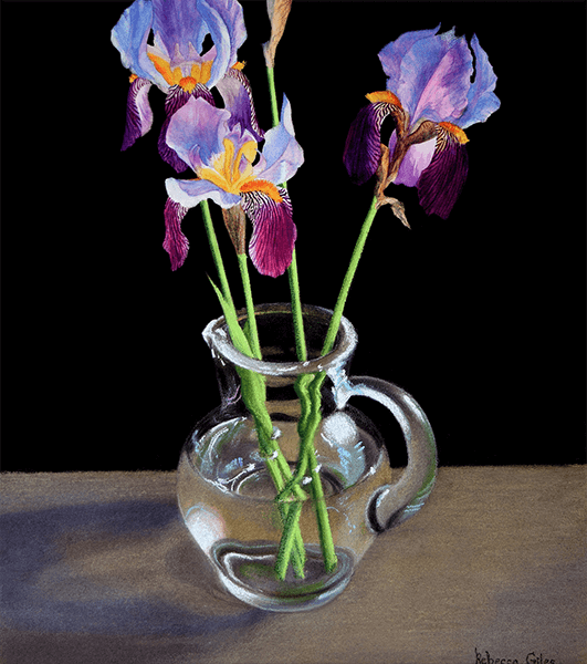 Still life painting of irises in a glass pitcher