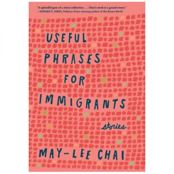 peach book cover of Useful Phrases for Immigrants by May-Lee Chai