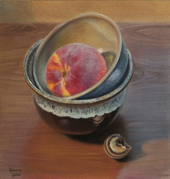 Still life painting of a peach in a bowl on a wooden table