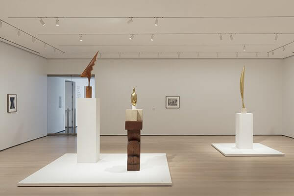 An installation of Constantin Brancusi's abstract sculptures
