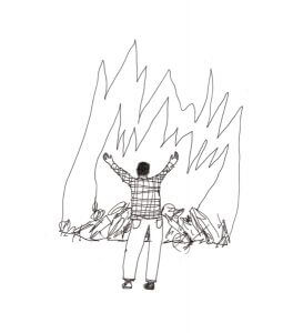 Simple illustration of a man in distress in front of a fire
