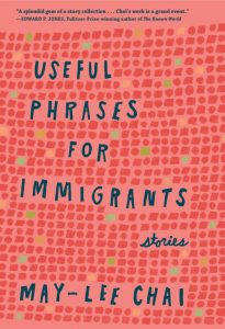 Warm pink book cover titled Useful Phrases for Immigrants