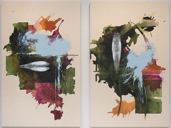 An abstract diptych of a landscape in greens and rusty oranges, plum, and splotches of sky blue