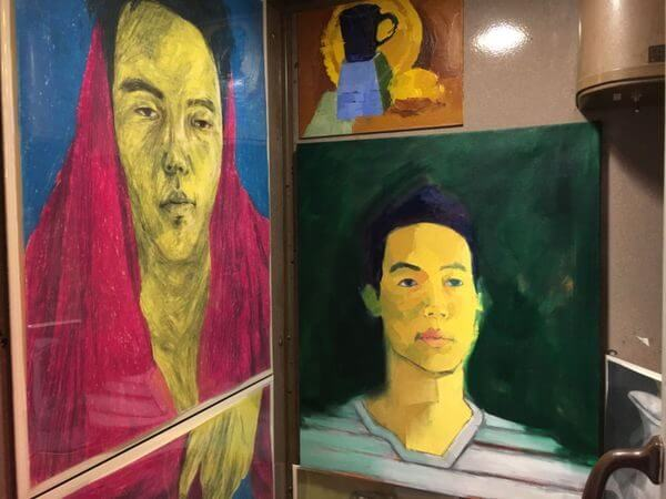Abstract portraits of a man and a woman