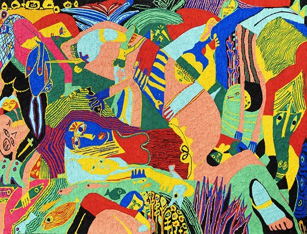 A colorful abstract painting of women fishing