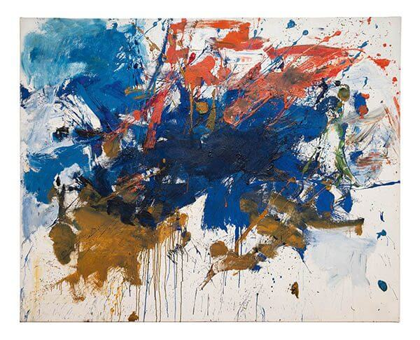 An abstract painting featuring blues, oranges, and ochre splashes
