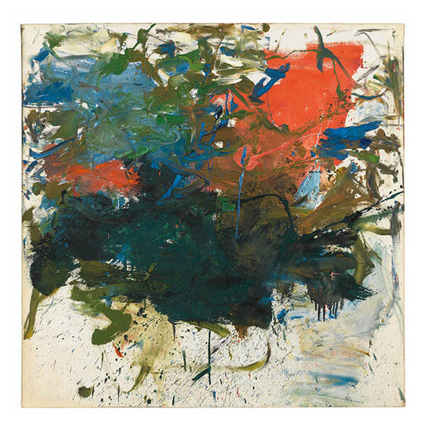 An abstract painting featuring shades of green, orange, and blue