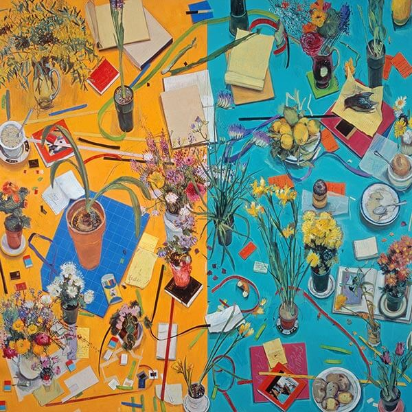 A painting showing a collection of ephemera, from flowers to discarded paper and coffee mugs