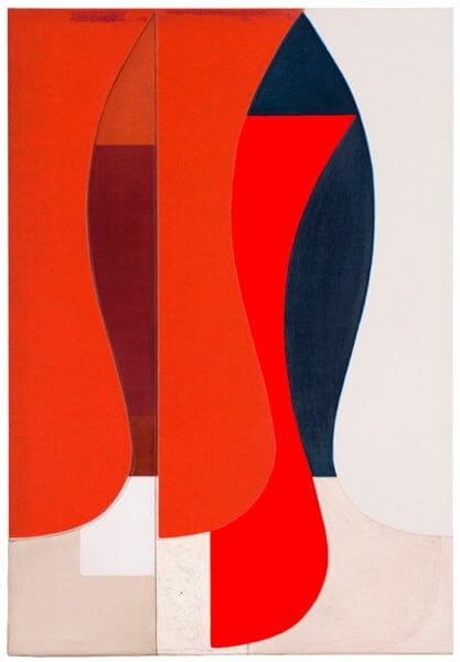 A geometric abstract painting with red, pink, and navy shapes