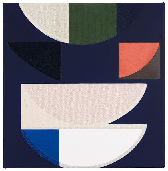 A geometric abstract painting with dark navy background, and peach half cricles