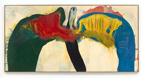 Green, blue, red, yellow, black, and white spread across the surface of a painting like a pair of wings, lungs, or some other organic form