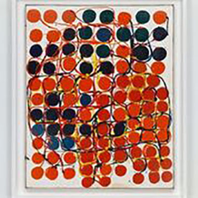 An abstract painting with red and navy dots referencing bulbs, wiring, and geometric patterns.