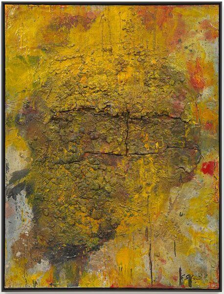 A mustard yellow mixed media work with a gravel-like texture