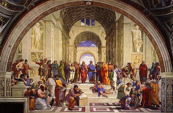Raphael's School of Athens, a painting of a gathering of men in a temple