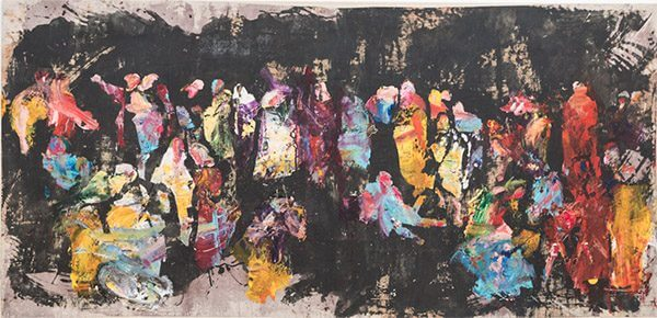 A modern abstract painting based on Raphael's School of Athens