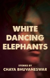 Cover of the book White Dancing Elephants, with a portrait of a woman in the background