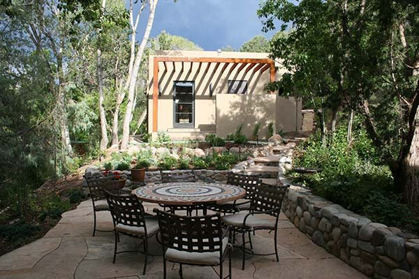 Outdoor space in Catherine Eaton Skinner's Santa Fe studio