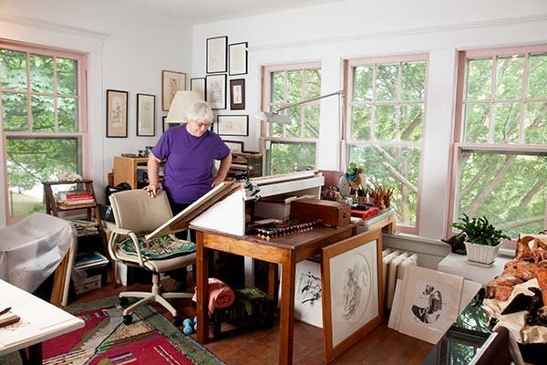 Fay Wood in one of the workspaces in her home studio.