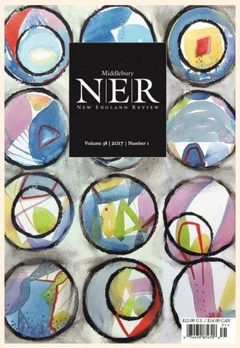 The cover of a magazine, with an abstract watercolor painting in the background