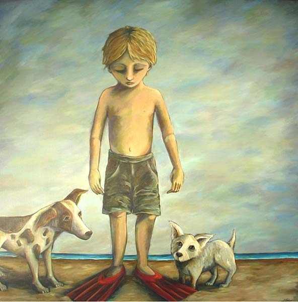 Painting of a boy in swimming flippers with his dogs