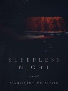 cover of a novel, a hand holding a bundt cake on a black background