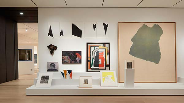 Installation view of Shape on Shape, abstract paintings, sculpture, and drawings