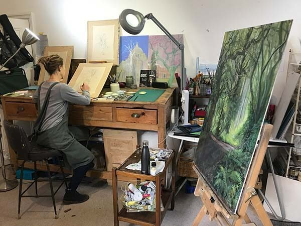 Alex Egan at work in her studio