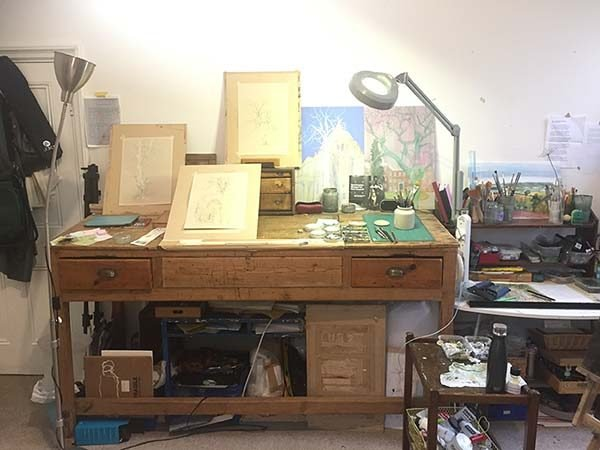 working desk in Ale Egan's studio