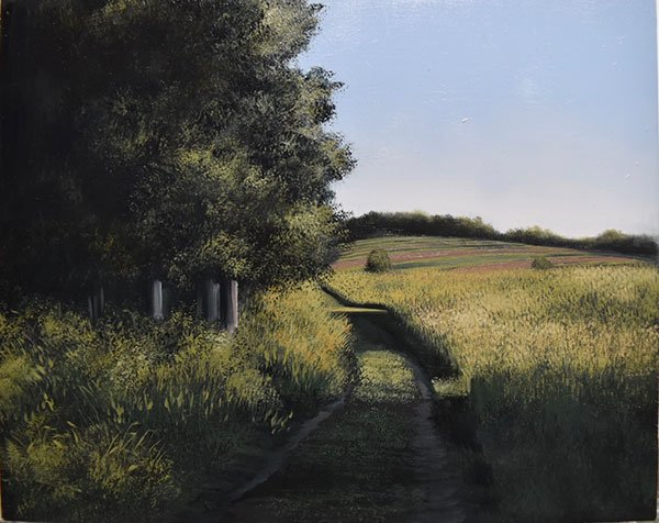 An oil painting of a worn path through a field of grass with trees on the left hand side