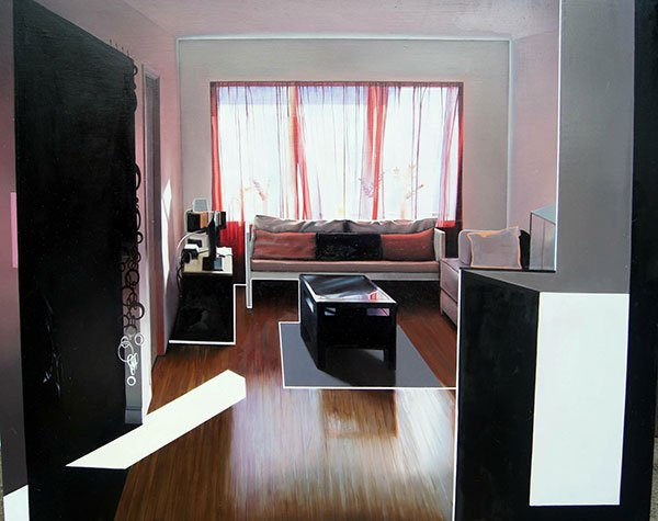A realistic oil painting of a living room