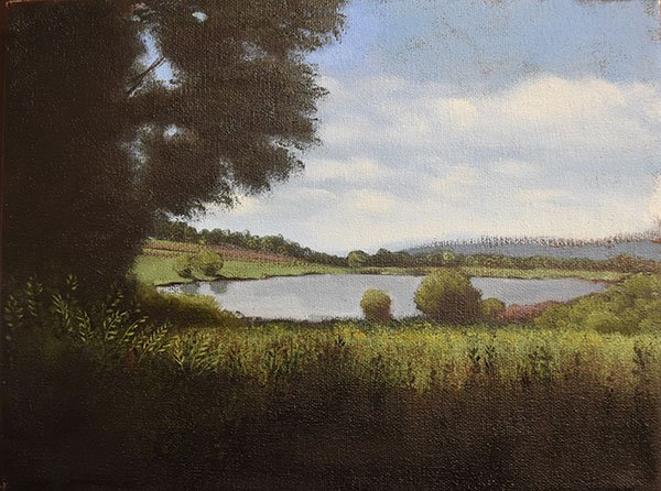 An oil painting of a lake in the middle of a grassy field