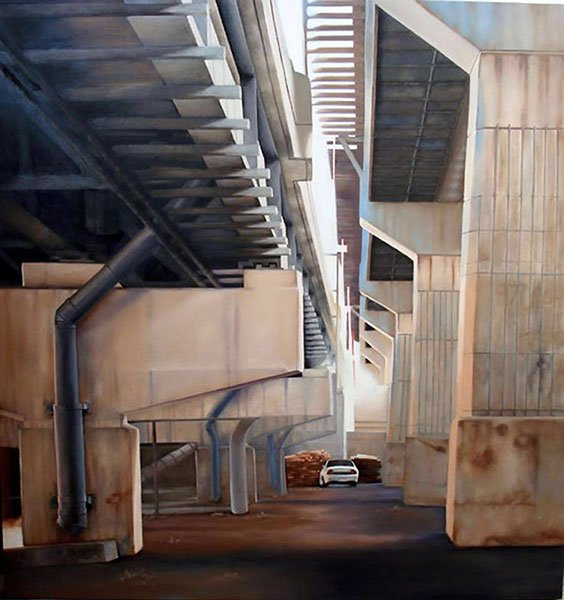 An oil painting of the bottom of a freeway bridge