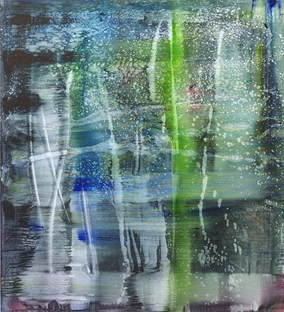 watery blue, purple, and green oils on linen bleeding and spilling like watercolors and creating vertical ribbons of color