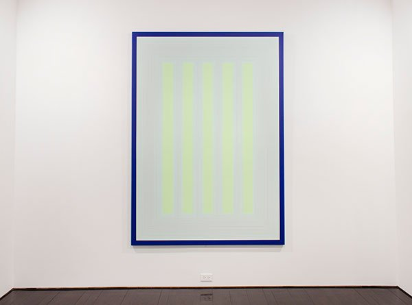 Exhibtions of place and space: A painting of yellow neon vertical stripes on a white background, with a bright blue border