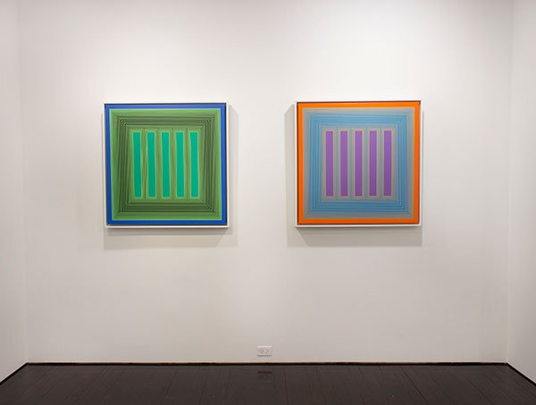 two paintings of neon vertical stripes among other colors