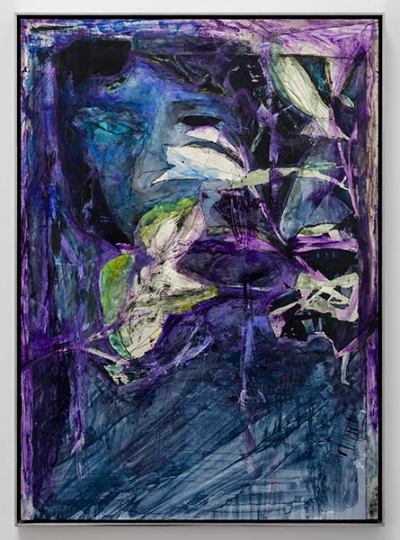 A purplish-blue abstract portrait of a girl holding white flowers