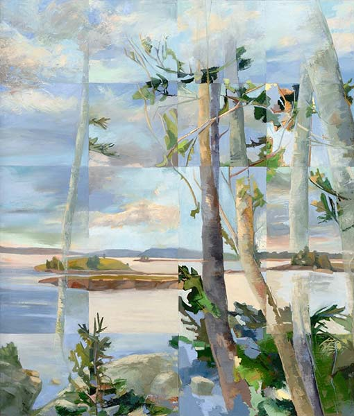An abstracted painting of birch trees overlooking a cove of water