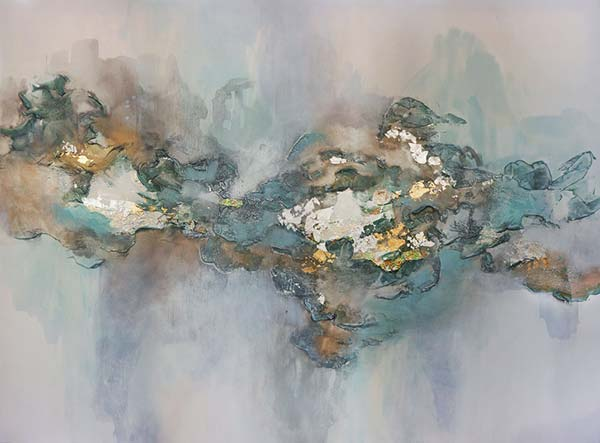 An example of Synesthesia in Painting: mixed media by Christine Olmstead