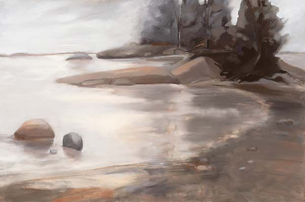 A painting of a cove in muted brown tones