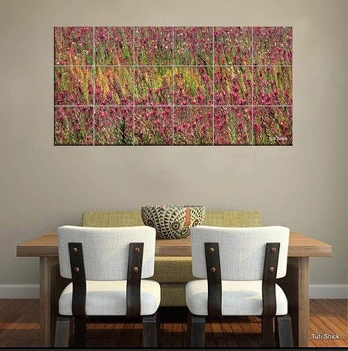 A photograph of a field of magenta flowers printed onto ceramic tiles