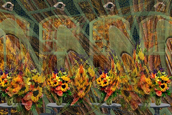 digital print of red and yellow flowers