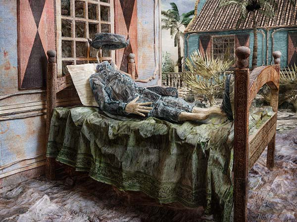 A staged photograph of a headless soldier laying in a bed