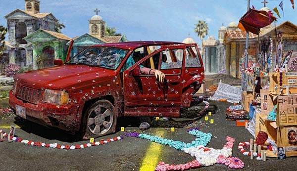 A staged photograph of an abstract scene of the aftermath of a car shooting